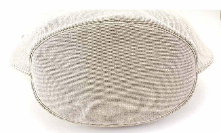 Women's Hermes Tan Canvas Cognac Leather Top Handle Satchel Carryall Shoulder Bag For Sale
