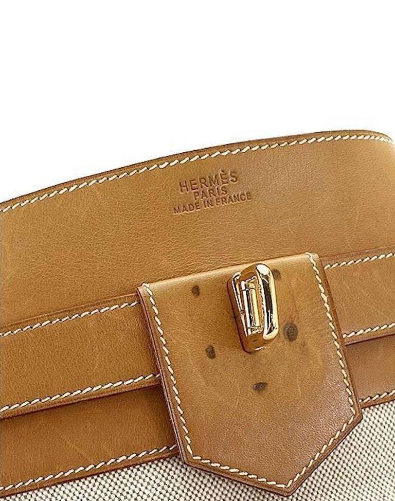 Beige Hermes Tan Canvas Cognac Leather Top Handle Satchel Carryall Shoulder Bag For Sale