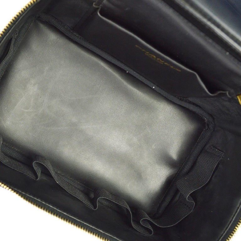 3b5893c440270b Chanel Black Patent Leather Top Handle Satchel Travel Vanity Cosmetic Bag  For Sale 3