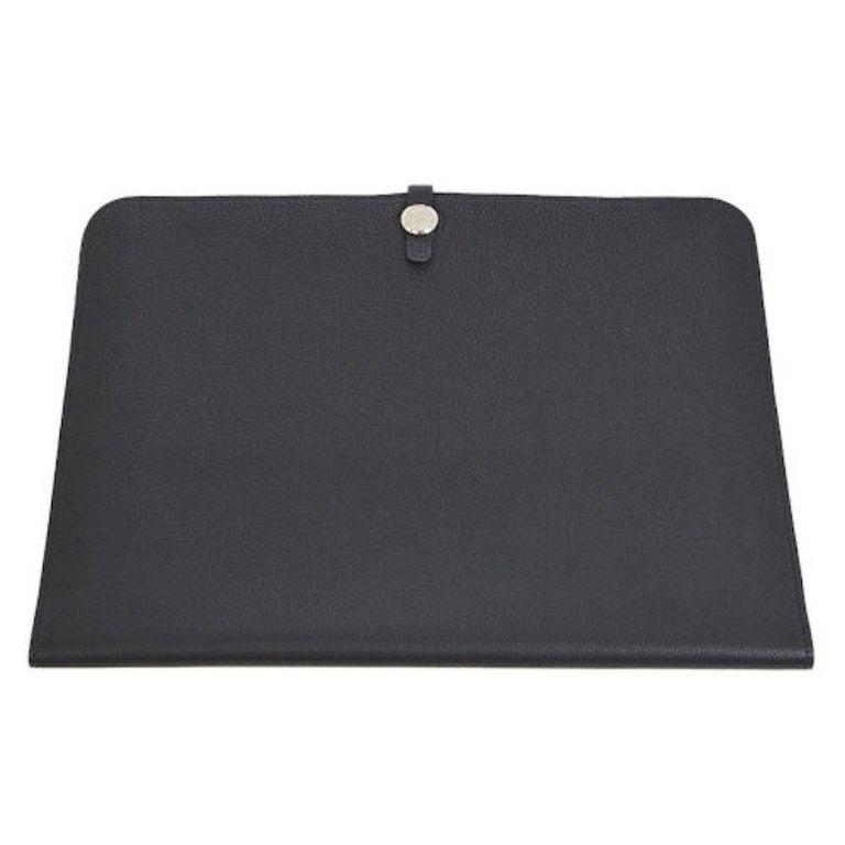Hermes Black Leather Silver Large LapTop Business Envelope Clutch CarryAll Bag