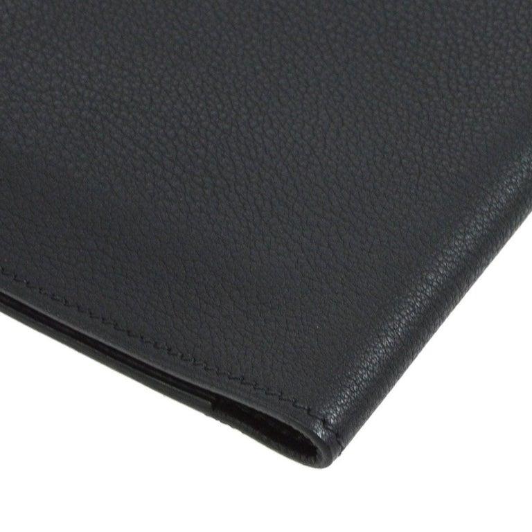Women's  Hermes Black Leather Silver Large LapTop Business Envelope Clutch CarryAll Bag