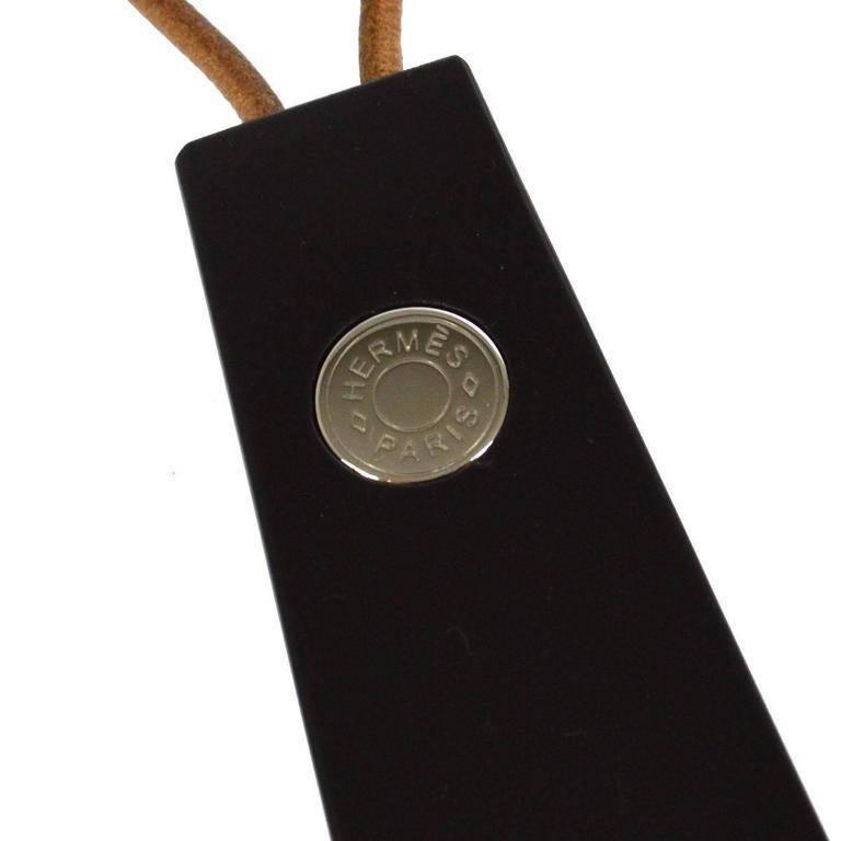 Hermes Black Sellier Men's Women's Unisex Shoe Horn in Box  Palladium hardware  Leather strap  Leather strap drop 1.5