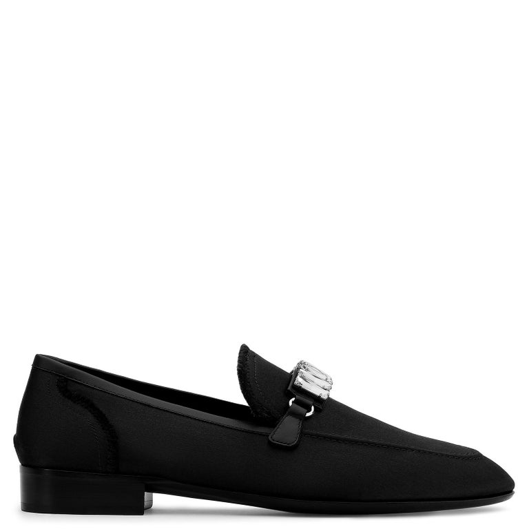 Giuseppe Zanotti New Black Crystal Men's Dress Suit Evening Loafers in Box In New Condition For Sale In Chicago, IL