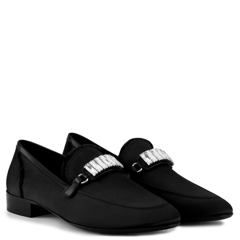 Giuseppe Zanotti New Black Suede Crystal Men's Dress Suit Evening Loafers in Box  Size IT 45 Leather Satin Crystal Leather sole Made in Italy Includes original Giuseppe Zanotti dust bag and box