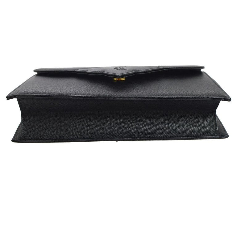 Women's YSL Yves Saint Laurent Black Leather Envelope Evening Flap Clutch Bag