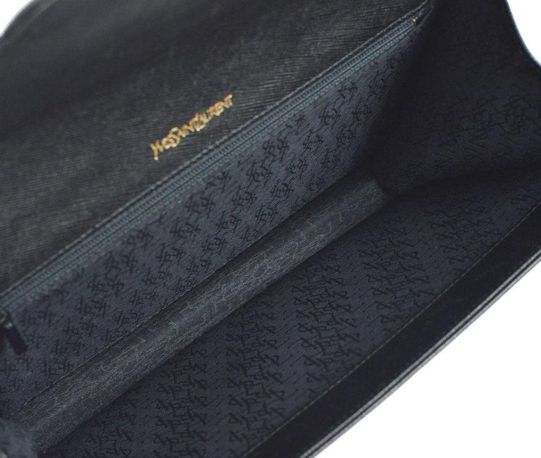 Ysl Yves Saint Laurent Black Leather Envelope Evening Flap