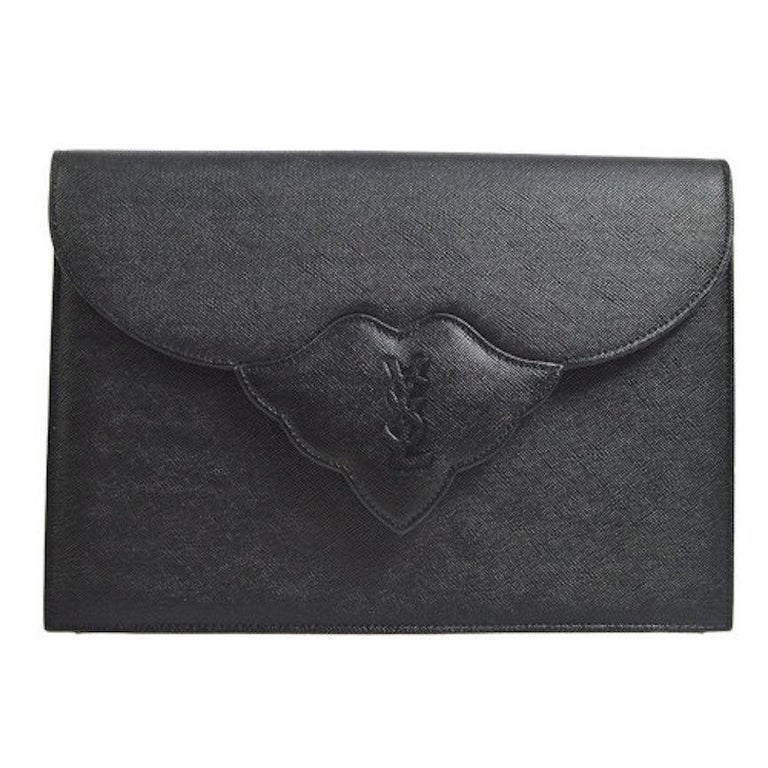 YSL Yves Saint Laurent Black Leather Envelope Evening Flap Clutch Bag