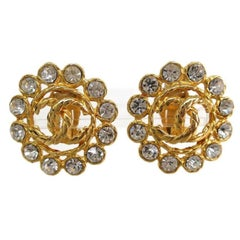 Chanel Vintage Gold Metal Rhinestone Large Flower Evening Stud Button Earrings