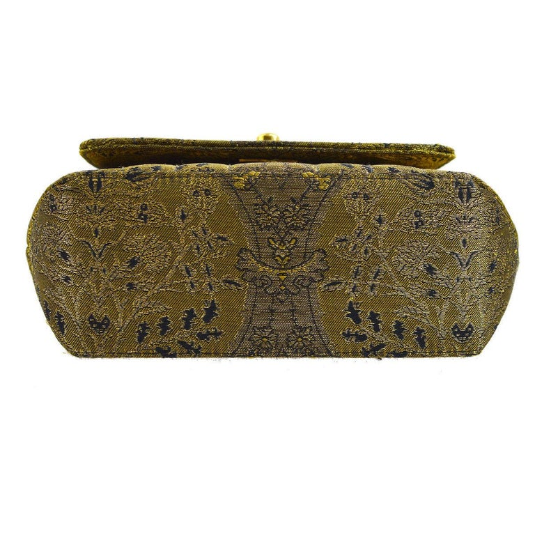 Women's Chanel Green Gold Jacquard Small Party Evening Shoulder Flap Bag For Sale