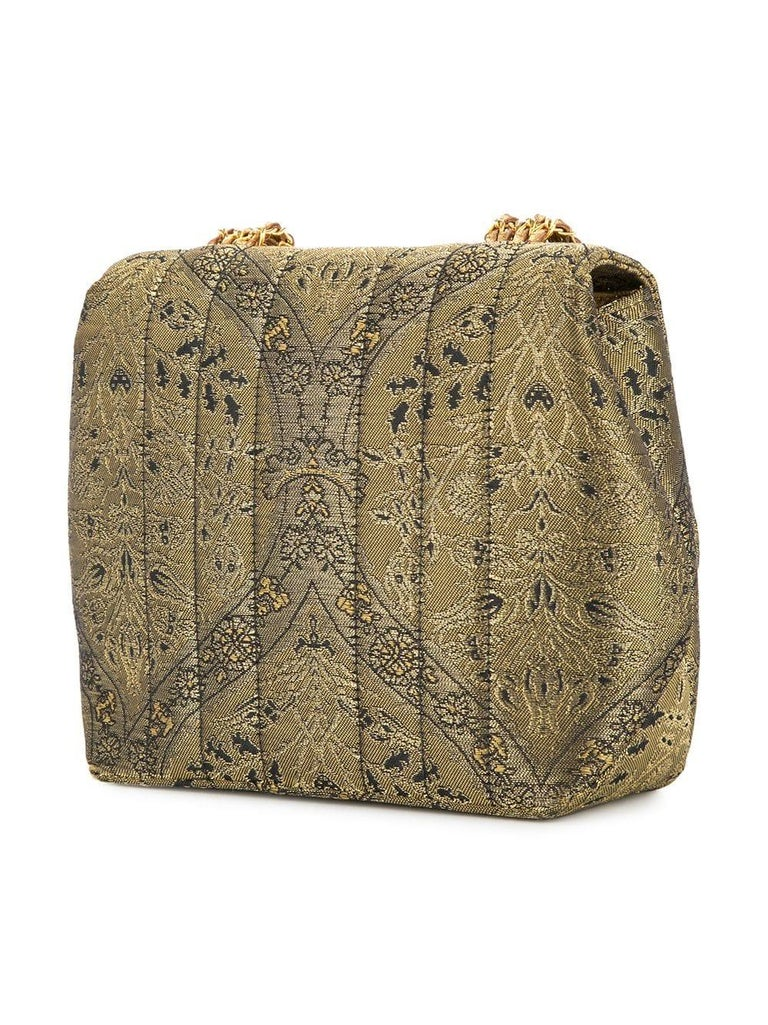 Chanel Green Gold Jacquard Small Party Evening Shoulder Flap Bag In Excellent Condition For Sale In Chicago, IL
