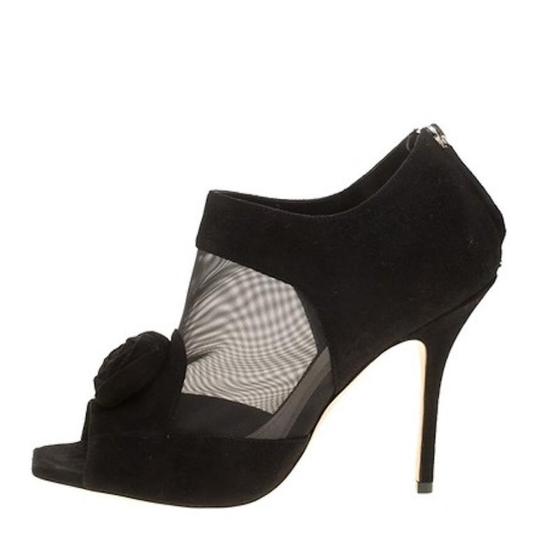 Christian Dior Black Suede Mesh Evening Heels Ankle Boots Booties   For Sale