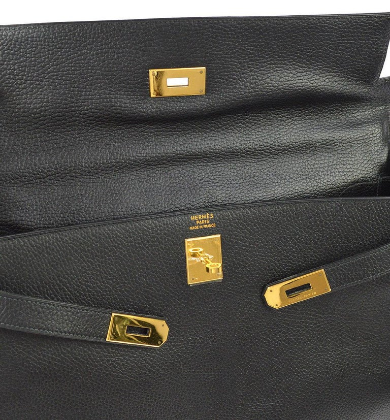 Hermes Kelly 40 Black Leather Men's Women's Top Handle Satchel Carryall Tote Bag  Leather Gold tone hardware Leather lining Made in France Handle drop 4
