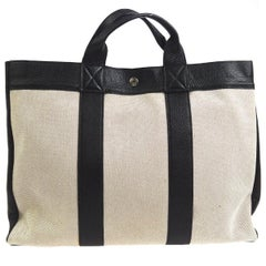 Hermes Canvas Black Leather Trim Large Weekender Carryall Travel Tote Bag