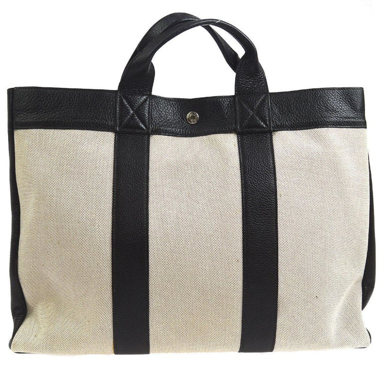 Hermes Canvas Black Leather Trim Large Weekender Carryall Travel Tote Bag  For Sale at 1stdibs 4eb9bccaadf36
