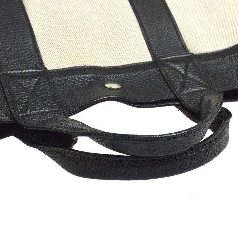 Women's Hermes Canvas Black Leather Trim Large Weekender Carryall Travel Tote Bag For Sale