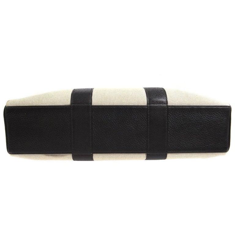 Beige Hermes Canvas Black Leather Trim Large Weekender Carryall Travel Tote Bag For Sale
