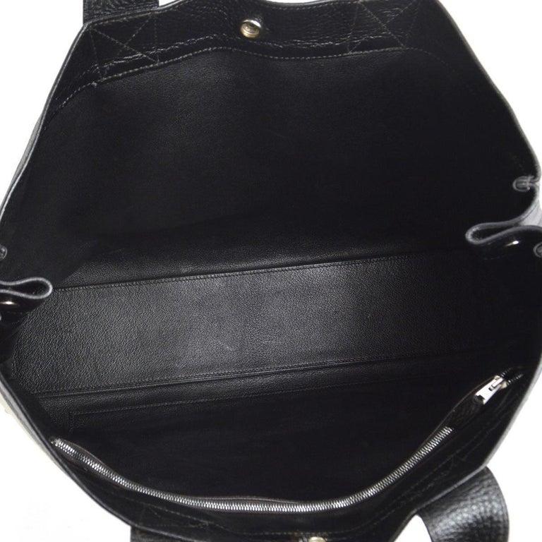 Hermes Canvas Black Leather Trim Large Weekender Carryall Travel Tote Bag For Sale 1