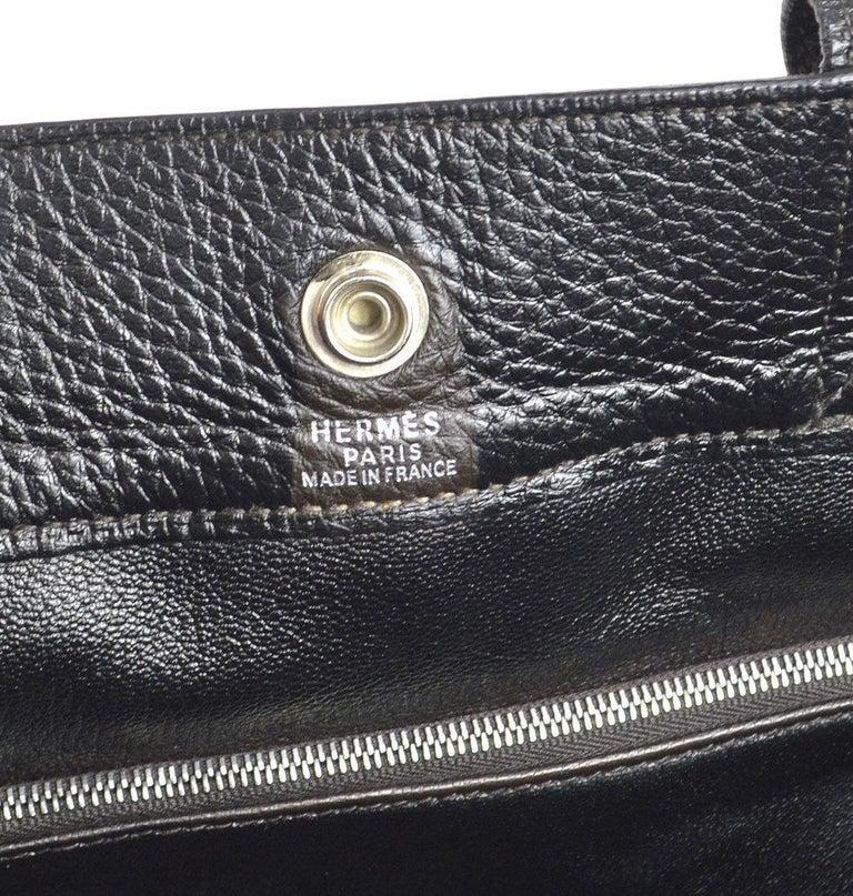 Hermes Canvas Black Leather Trim Large Weekender Carryall Travel Tote Bag For Sale 2