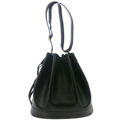 Hermes Black Leather Bucket Drawstring Carryall Shoulder Bag in Box