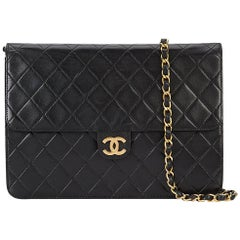 Chanel Black Lambskin Leather Gold 2in1  Evening Clutch Flap Shoulder Bag in Box