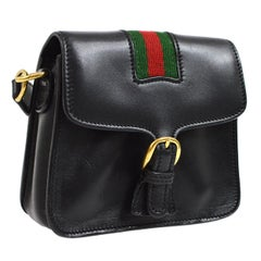 00c6ec28d575 Gucci Black Leather Green Red Signature Strip Crossbody Shoulder Flap Bag