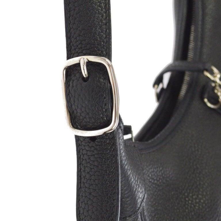 Hermes Black Leather Silver Buckle Large Hobo Style Carryall Shoulder Bag For Sale 1