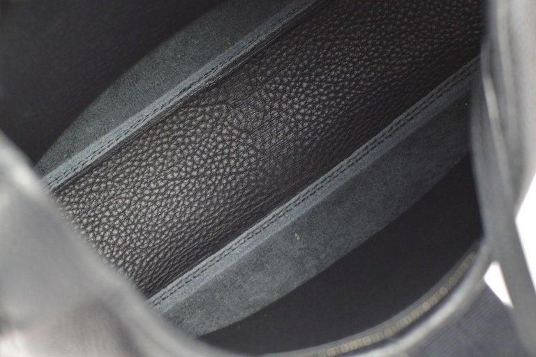 Hermes Black Leather Silver Buckle Large Hobo Style Carryall Shoulder Bag For Sale 4
