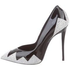 Giuseppe Zanotti NEW Black Patent Leather Crystal Retro Evening Pumps Heels