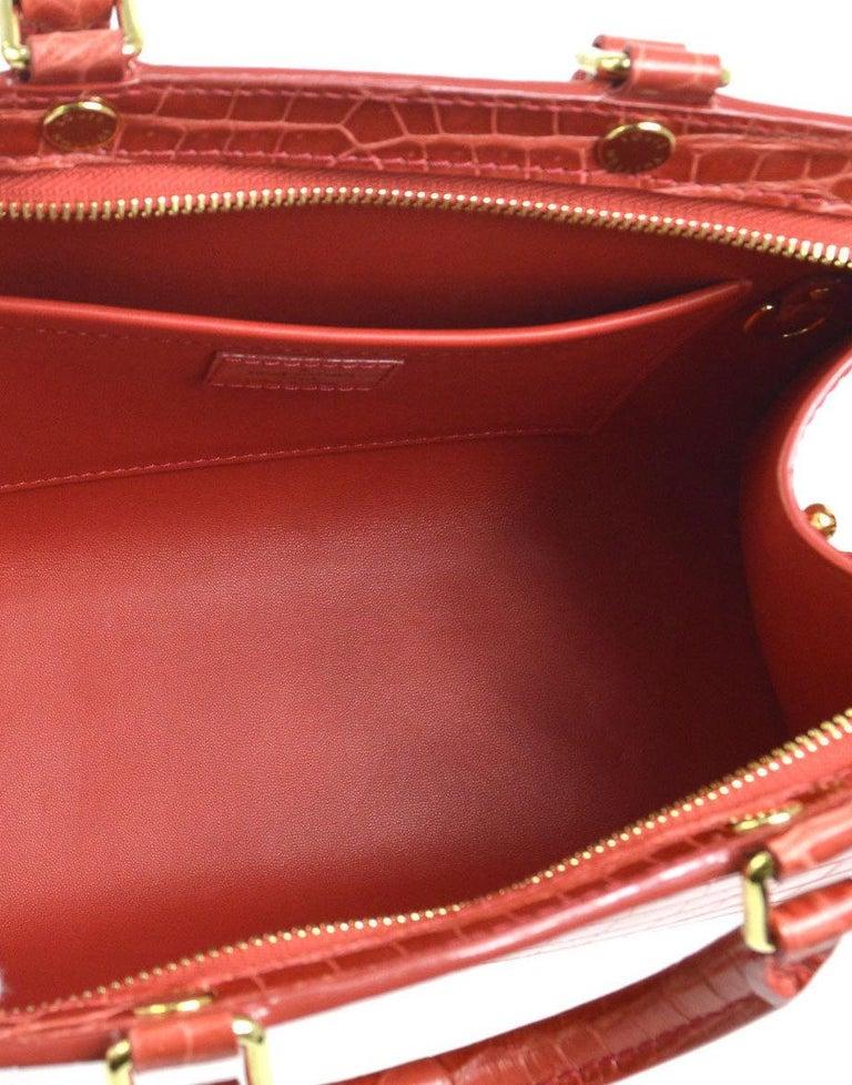 Women's Louis Vuitton Rare Alligator Leather Gold Top Handle Satchel Shoulder Tote Bag