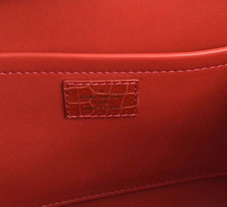 Louis Vuitton Rare Alligator Leather Gold Top Handle Satchel Shoulder Tote Bag 1
