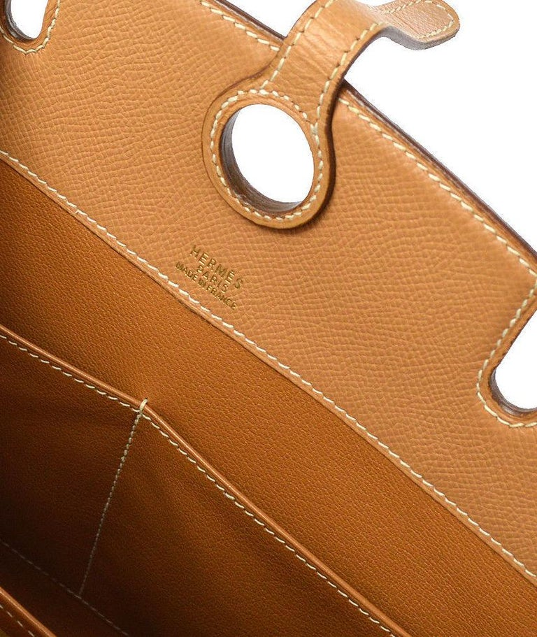 Hermes Cognac Tan Leather Gold Top Handle Satchel Tote Bag For Sale 4