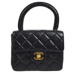 Chanel Black Leather Lambskin Small Party Evening Top Handle Satchel Flap Bag