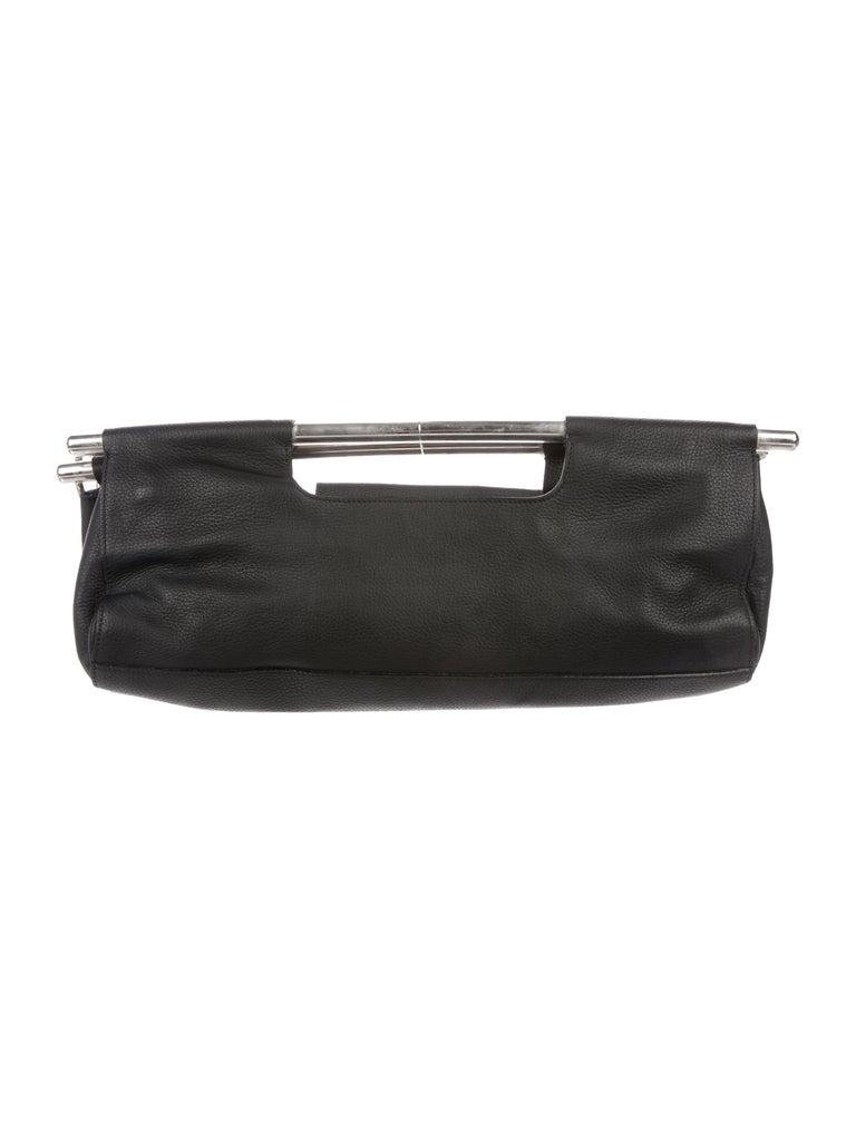 Women's Prada Black Leather Metal Top Handle Bar 2 in 1 Clutch Shoulder Bag For Sale