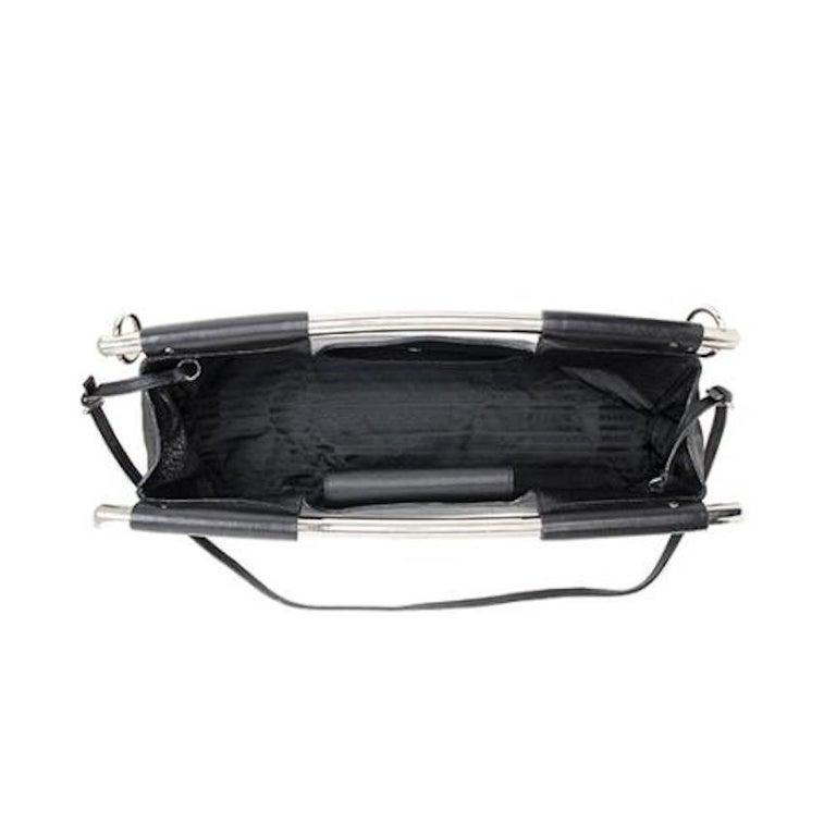 Prada Black Leather Metal Top Handle Bar 2 in 1 Clutch Shoulder Bag For Sale 2