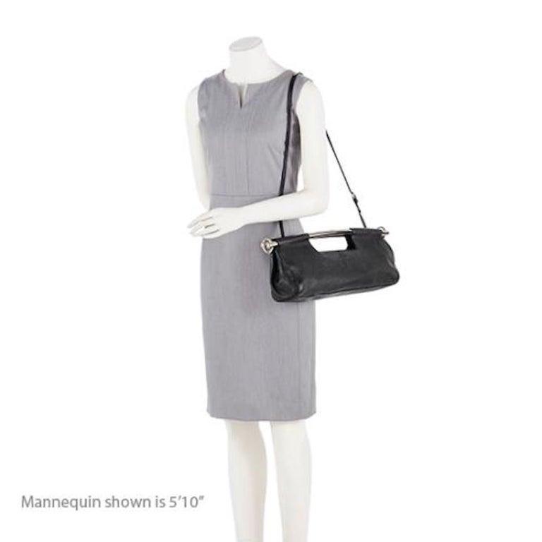 fcb3b3ed2f72 Prada Black Leather Metal Top Handle Bar 2 in 1 Clutch Shoulder Bag In  Excellent Condition