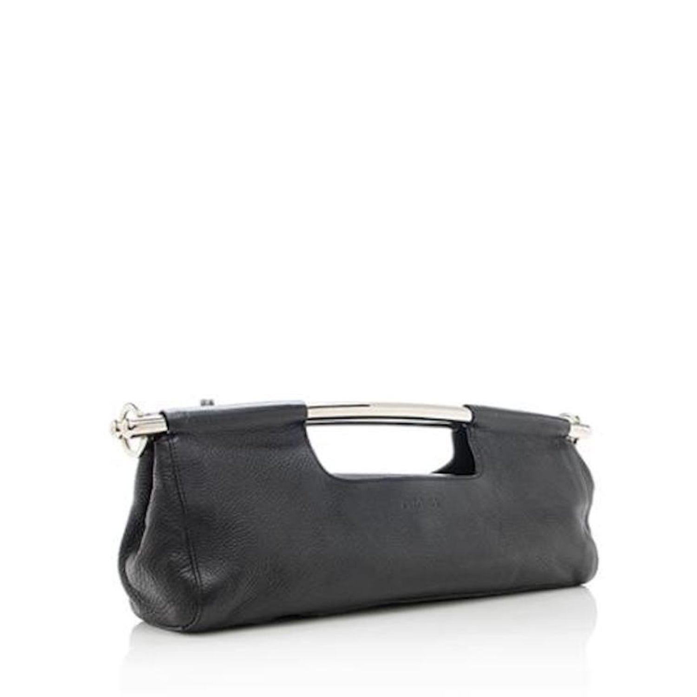 c8ef0a39e81b Prada Black Leather Metal Top Handle Bar 2 in 1 Clutch Shoulder Bag For Sale  at 1stdibs