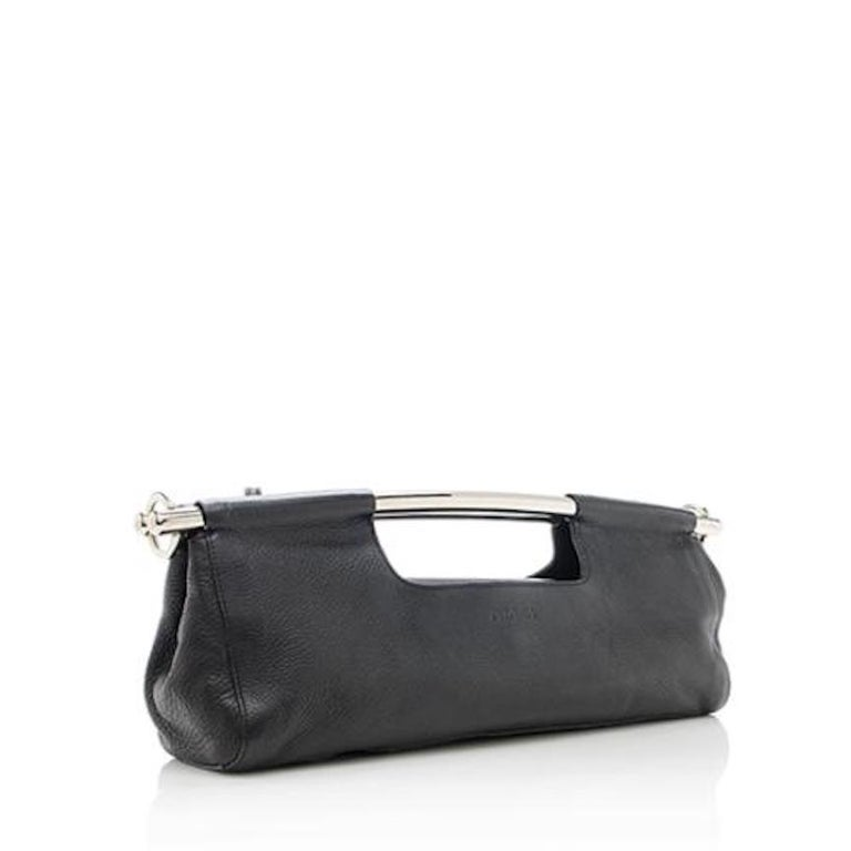Prada Black Leather Metal Top Handle Bar 2 in 1 Clutch Shoulder Bag For Sale 1