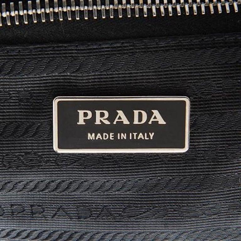 Prada Black Leather Metal Top Handle Bar 2 in 1 Clutch Shoulder Bag For Sale 3