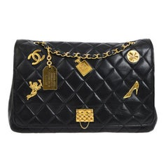 Chanel Rare Large Black Leather Gold Charms Evening Shoulder Flap Bag