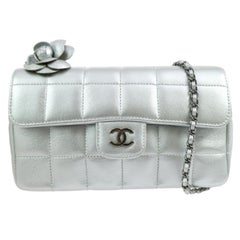 Chanel Silver Leather Flower Silver Gunmetal Evening Shoulder Flap Bag