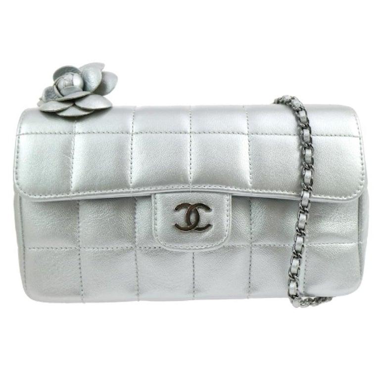 Chanel Silver Leather Flower Silver Gunmetal Evening Shoulder Flap Bag
