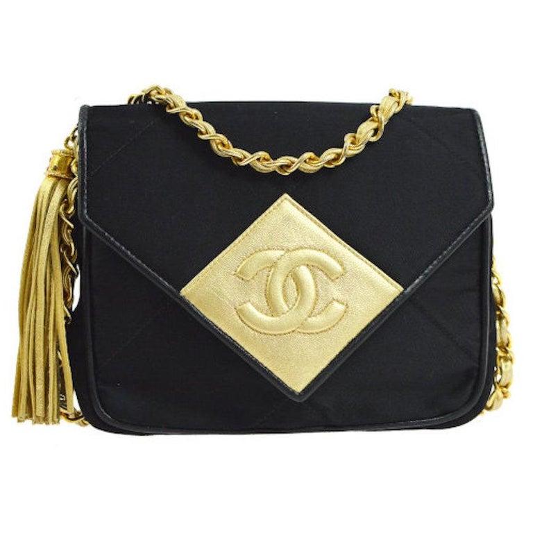 Chanel Satin Silk Black Leather Gold Crest Leather Small Evening Shoulder Bag