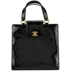 Chanel Black Patent Leather Gold Kelly Style Top Handle Satchel Evening Tote Bag