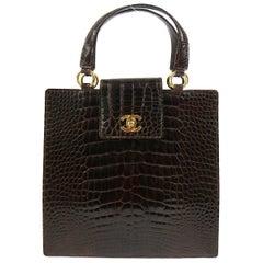 Chanel Rare Crocodile Gold Kelly StyleEvening Top Handle Satchel Bag in Box