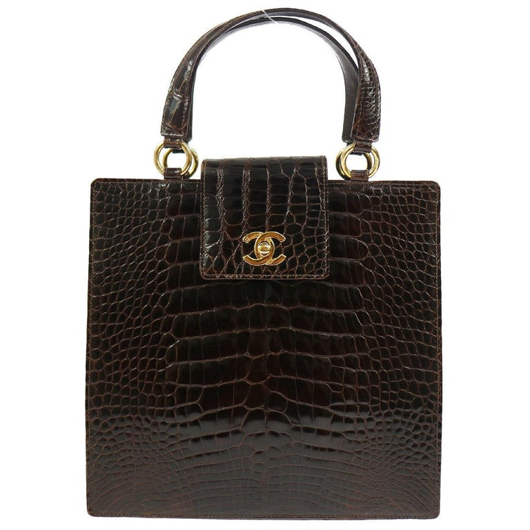 e5d0f910d9ae Chanel Rare Crocodile Gold Kelly StyleEvening Top Handle Satchel Bag in Box  For Sale