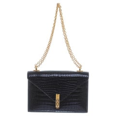 Hermes Rare Black Crocodile Leather Gold Emblem 2 in 1 Clutch Shoulder Flap Bag
