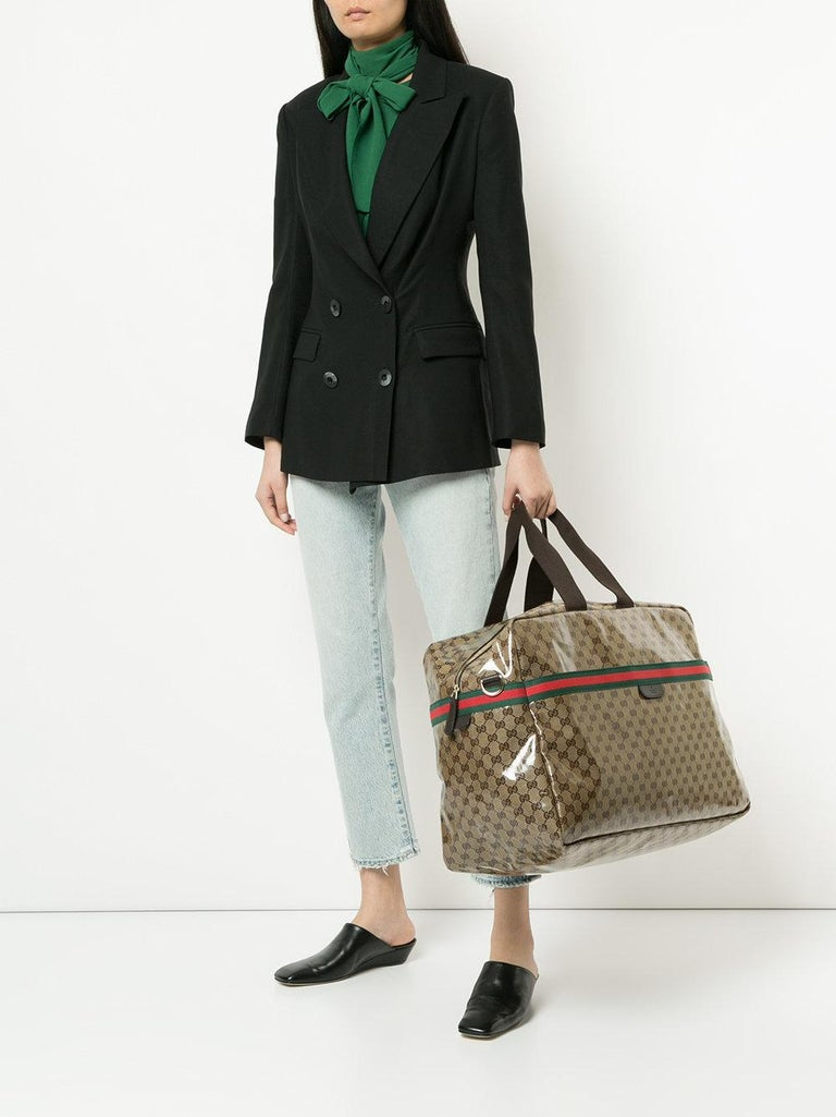 5ccd9411414a Gucci Monogram Logo Men s Women s Travel Duffle Carryall Weekender Shoulder  Tote Bag Coated canvas Fabric Gold