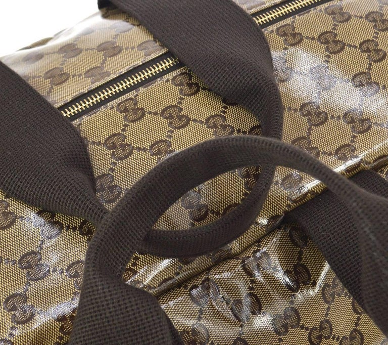 dc49f92a866d ... Coated canvas Fabric Gold. Brown Gucci Monogram Men s Women s Travel  Duffle Carryall Weekender Shoulder Tote Bag ...