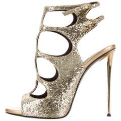 Giuseppe Zanotti Gold Glitter Cut Out Evening Sandals Heels