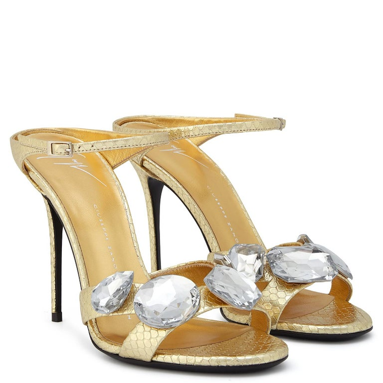 Giuseppe Zanotti NEW Gold Leather Crystal Evening Slide In Mules Heels in Box In New Condition For Sale In Chicago, IL